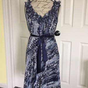 Dress Barn Navy/White Ruffle Sleeveless Dress